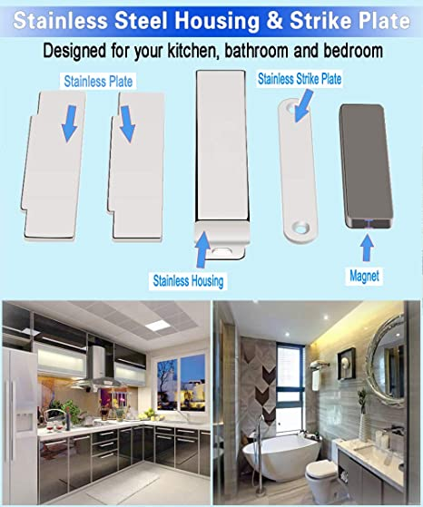 2.1 in Silver, 2-Pack 20lb High Magnetic Stainless Steel Heavy Duty Catch for Kitchen Bathroom Cupboard Wardrobe Closet Closures Cabinet Door Drawer Latch WOOCH Magnetic Door Catch
