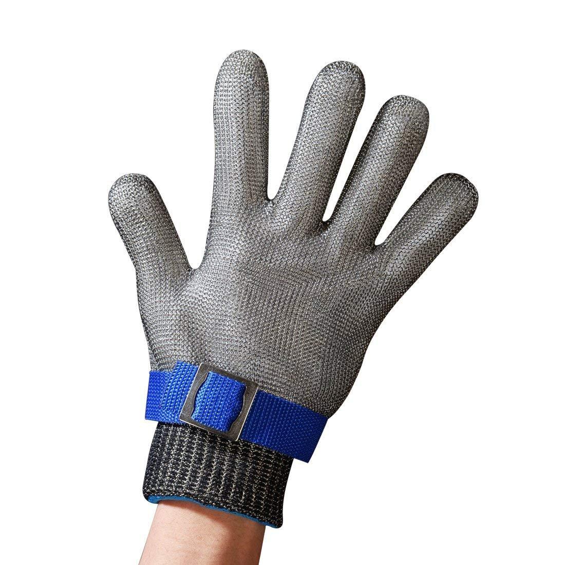 WOVELOT Azul Guante De Carnicero De Malla De Acero Inoxidable Resistente A Las Punaladas De Seguridad Proteccion Nivel 5 De Alto Rendimiento Tamano S