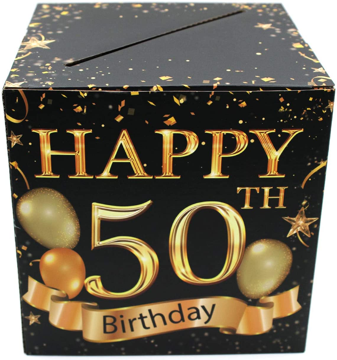 Buildinest 50th Birthday Party Decorations Box – Cheers to 50 Years, 50 Birthday Party Supplies – 1 Set(Box-50-BLK)