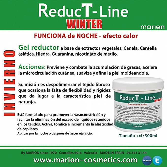 Anticelulítico Reductor Reductline WINTER Efecto Calor xxl - 500 ml, a base de Extractos Vegetales; Canela, Centella Asiática, Hiedra, Guaranina, ...