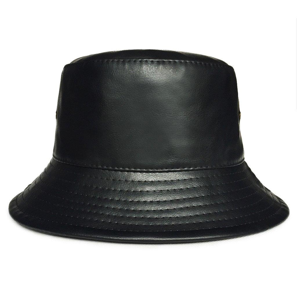 lethmik Bucket Hats Unisex Black Faux Leather Solid Color Bucket Hat Black