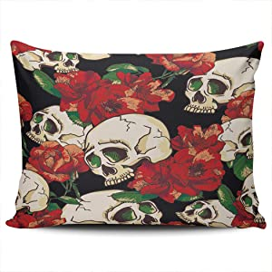 CENYUO Pillowcase Day of The Dead Skull and Red Flower Decorative Pillow Case Throw Pillows Cushion Cover Standard 20x26 Inch for Home Decor Sofa Bedroom