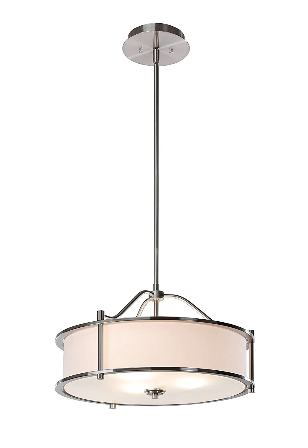 Pendant Lighting 18 inch 3 Light Drum Pendant Light with Fabric Shade and Glass Diffuser in Brushed Nickel, Classic Convertible Drum Chandelier for Living & Dinning Room XiNBEi-Lighting XB-P1199-BN