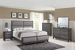 Kings Brand Furniture – Sheldon 6-Piece Queen Size Gray Bedroom Set. Bed, Dresser, Mirror, Chest & 2 Nightstands
