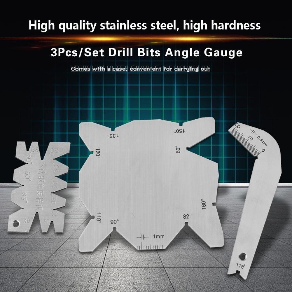 3 unids set brocas de calibre de /ángulo Dirll afilador de herramientas S S Inspecci/ón de calibre