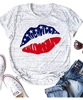 4th of July Independence Red White Blue JUNRS T-Shirt American Flag Lips