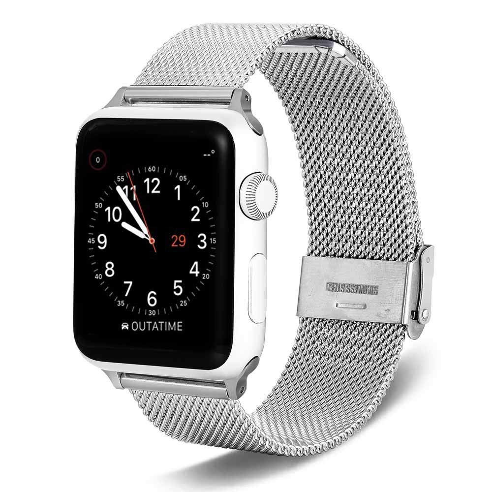 elecfan Band Compatible for Apple Watch, Stainless Steel mesh Strap 38mm 40mm Adjustable Buckle Fashion Men's Watch Steel Strap for iWatch Series 1/2/3/4,Silver by elecfan