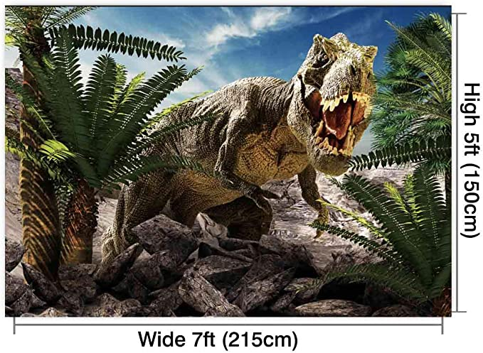 Zhy Dinosaur Backdrop for Birthday Party 7x5ft 2.1x1.5m Jungle World Wooden Board Backgrounds Children Kids Bday Party Decor Supplies Banner Photo Shooting Props 41