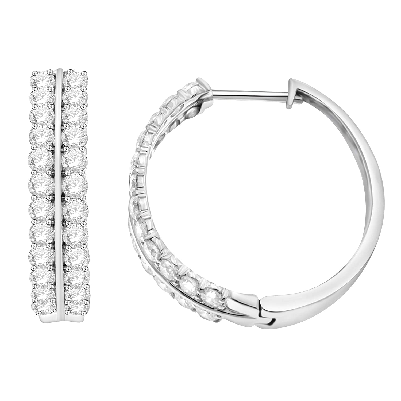 Diamond LAB Grown 2.00Ctw Round Hoop Earring in 10K White Gold