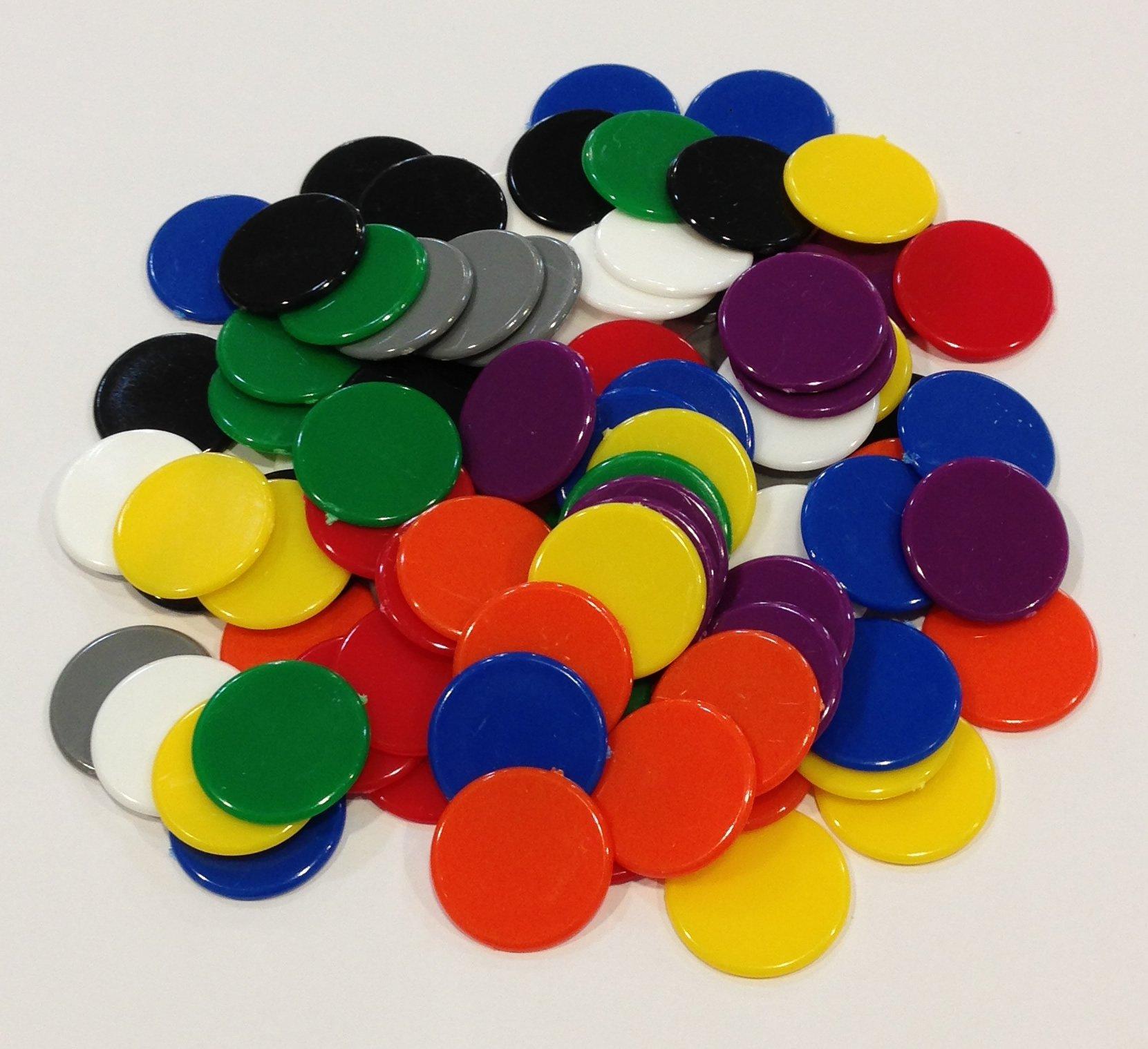 Plastic Counters: Black, Grey, White, Red, Orange, Yellow, Green, Blue, and Purple Color Gaming Tokens (Hard Colored Plastic Coins, Markers and Discs for Bingo Chips, Tiddly Winks, Checkers, and Other Board Game Playing Pieces)