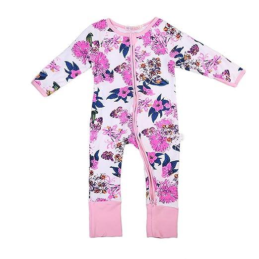 0bfca344e1b1 GSHOOTS Baby Girls  Floral Pajama Sleepwear Long Sleeve Zipper Jumpsuit  Flower Print Coverall (100