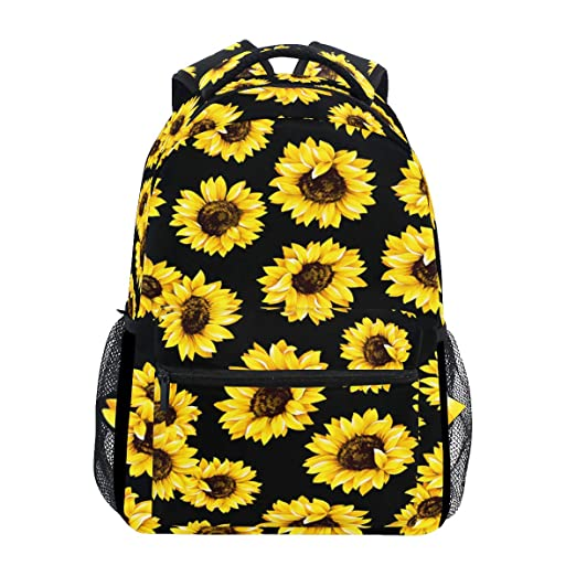 Sunflower Floral Laptop Backpack, Flower On Black Water Resistant College Students Bookbags Elementary School Bags Travel Computer Notebooks Daypack Bookbag For Men Women Kids Boys Girls by Wamika