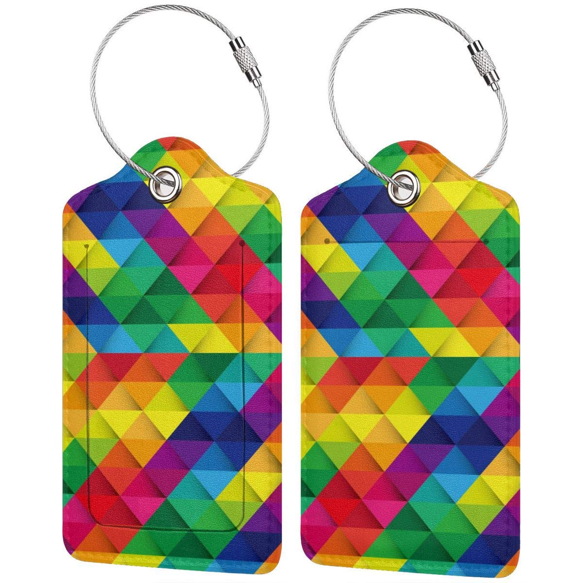 Lucaeat Colorful Abstract Background Luggage Tag PU Leather Bag Tag Travel Suitcases ID