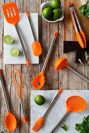 Compra BRA Efficient Cuchara de Cocina, Acero INOX, Nailon y Silicona, Naranja, 35 cm en Amazon.es