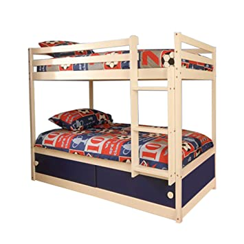 Comfy Living Slide Storage White Wooden Bunk Bed With Blue Sliding