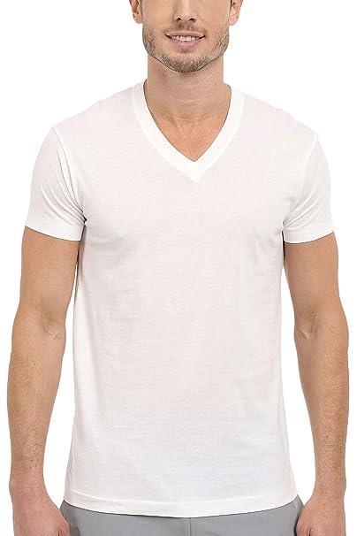 4cc4ba4c Kirkland Signature Men's 100% Pima Cotton 4-Pack V-Neck T-Shirts Small White  at Amazon Men's Clothing store: