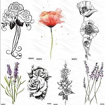 Amazon Com Sweet Peas Sketch Rose Leaf Temporary Tattoos Sticker Camellia Fake Tatoos Black Custom Tattoo Art Arm Wrist 10x6cm 7pc Beauty