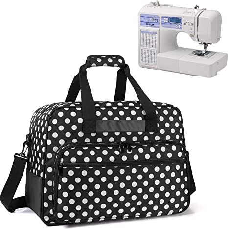 Universal Portable Carrying Case with Anti-Slip Padded Bottom Compatible with Most Standard Sewing Machine and Supplies Black Dots Yarwo Sewing Machine Tote Bag
