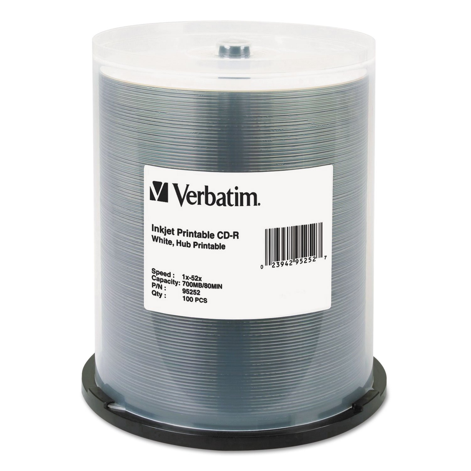 Verbatim Hub IJ Printable CD-R Discs, 700MB/80min, 52x, Spindle, White, 100/Pack