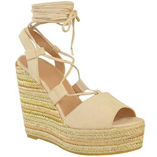 dbf0c582f0c Womens Ladies Wedge Espadrille Sandals Lace Tie Up Strappy Party Platforms  Size