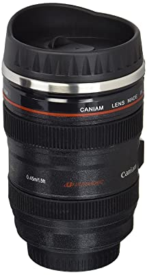 Coffee Mug - Camera Lens Travel Thermos - Stainless Steel Insulated Cup with Easy Clean Lid