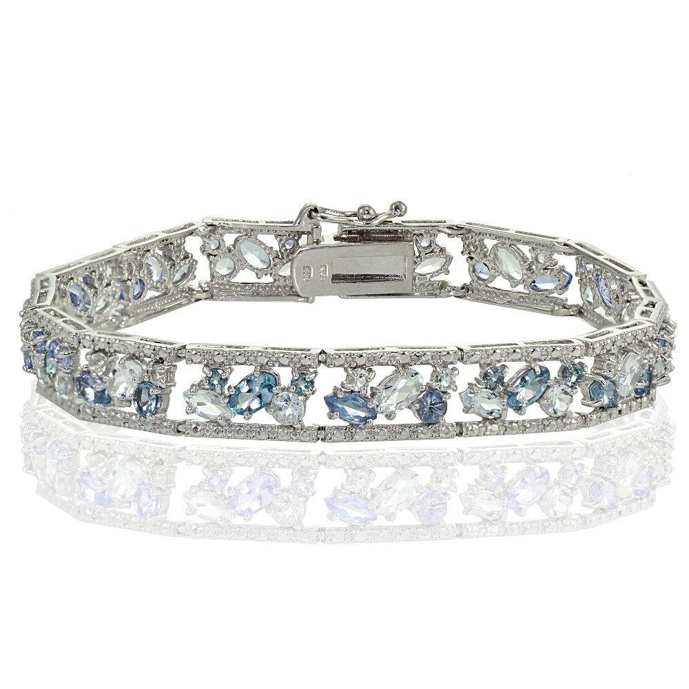 Sterling Silver Blue Topaz and London Blue Topaz Cluster Bracelet