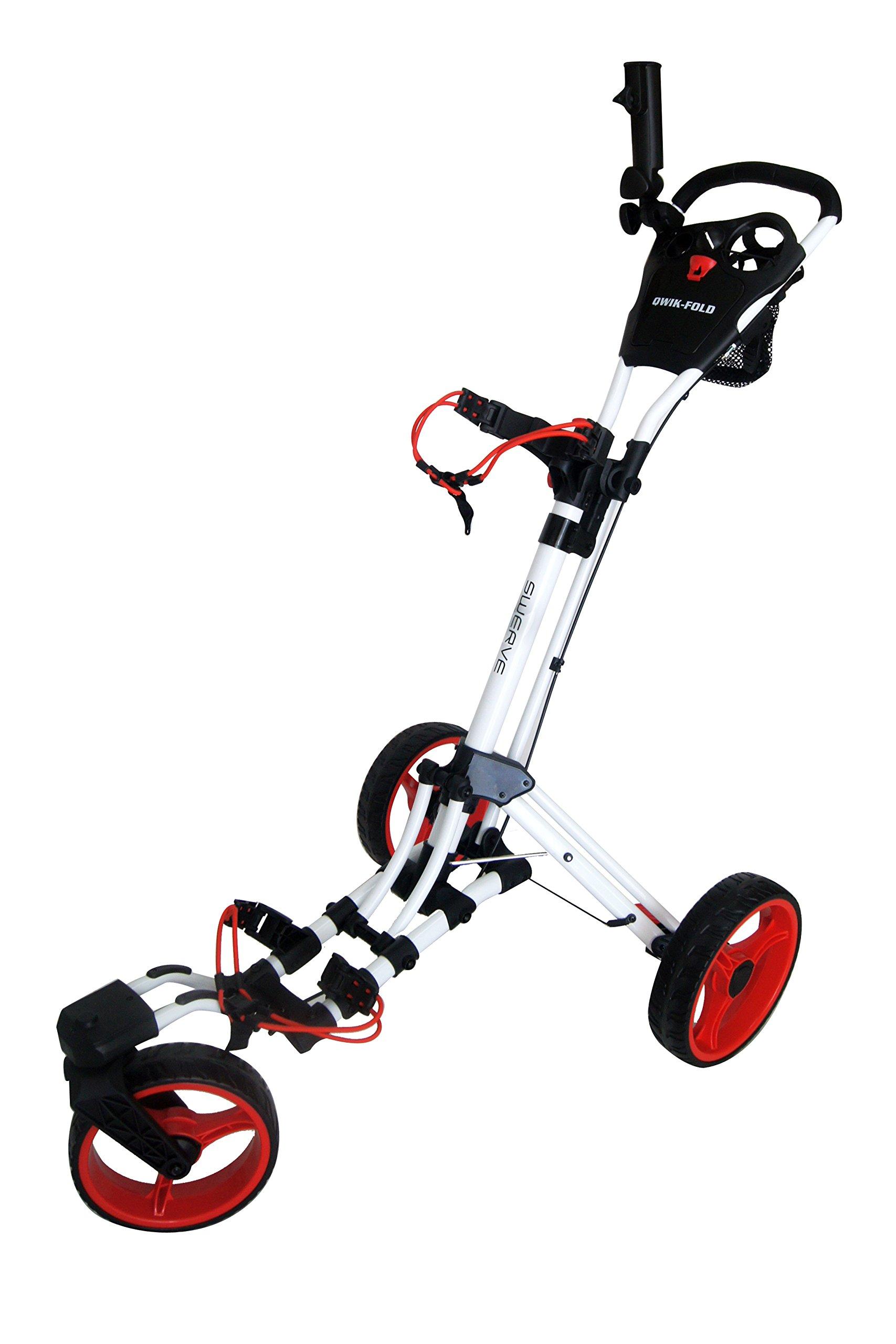 Swerve Founders Club 360 Swivel Wheel Qwik Fold Golf Push Cart (White)