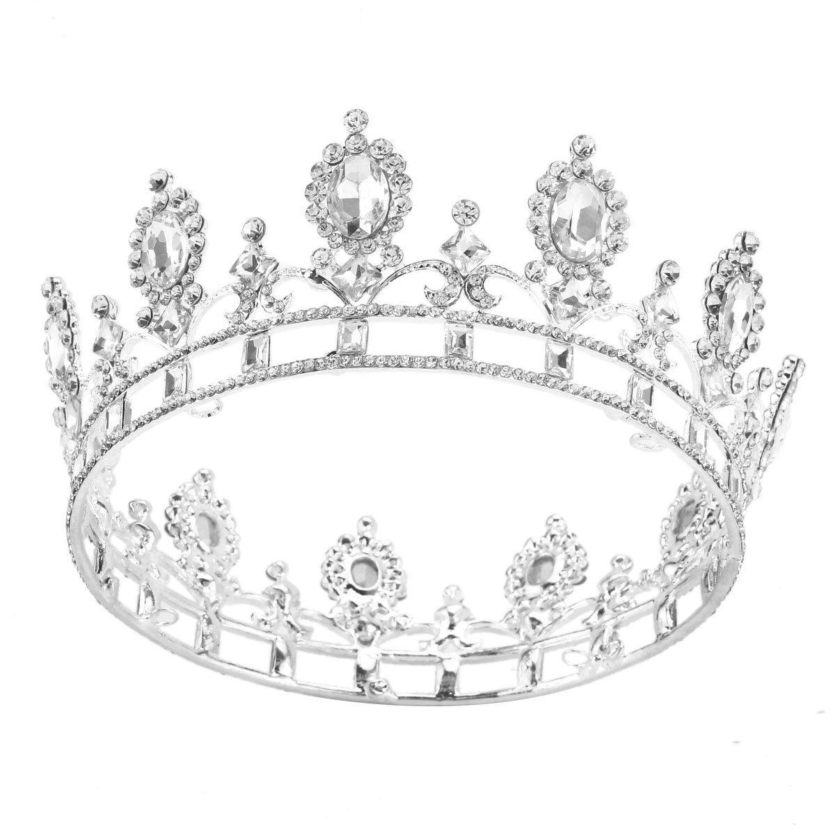 Stuffwholesale Oval Stone Wedding Pageant Crown Rhinestone Women Hair Accessories (Silver)