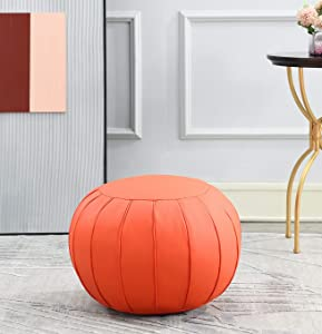 Comfortland Unstuffed Ottoman Pouf Covers, Small Faux Leather Foot Stool, 20x11 Inches Round Poof Seat, Floor Bean Bag Chair,Foot Rest Storage Solutions for Living Room, Bedroom, Kids Room Orange red