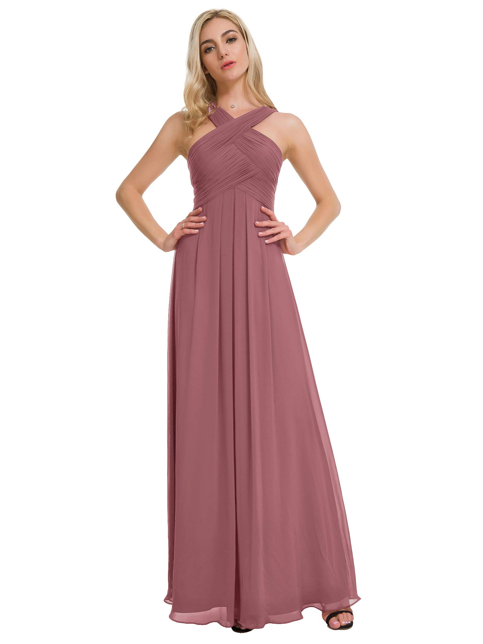 f57a59f296aa Alicepub Pleated Chiffon Bridesmaid Dresses Formal Party Evening Gown Maxi  Dress for Women, Dusty Rose, US6