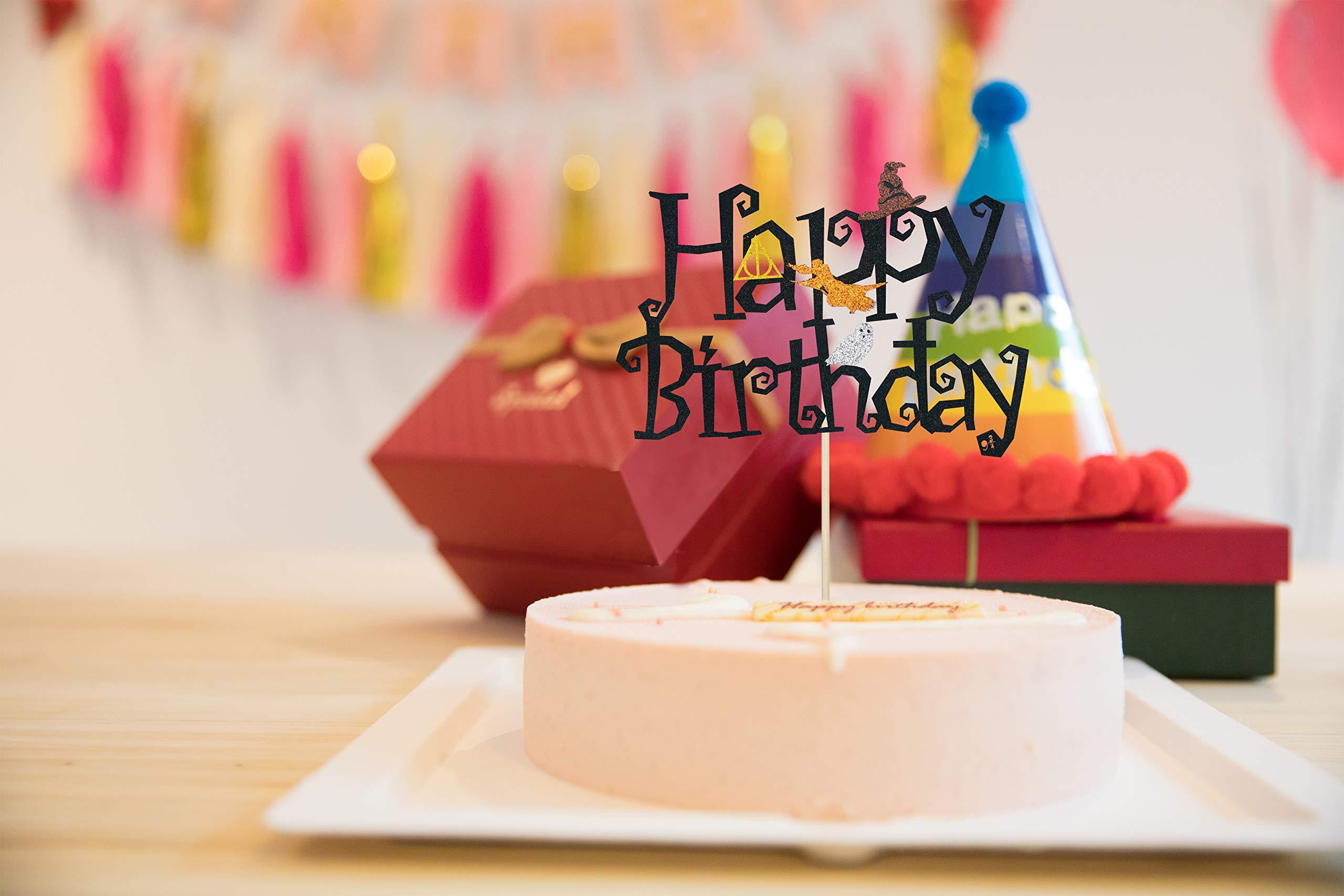 KAPOKKU Double Sided Glitter Black Wizard Happy Birthday Cake Topper Harry Potter Wizard Theme Party Supplies (harry potter cake topper)