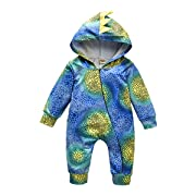 Baby Dinosaur Onesie, Newborn Toddler Baby Dinosaur Costumes Long Sleeve Romper Jumpsuit Outfit Set (Blue, 0-6Months)