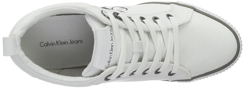 Amazon.com | Calvin Klein Womens Ritzy Canvas Wht Hi-Top Trainers | Fashion Sneakers