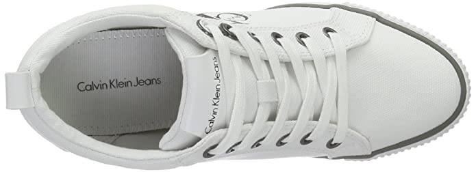 Amazon.com | Calvin Klein Womens Ritzy Canvas Wht Hi-Top Trainers, White, 8 UK 41 EU | Fashion Sneakers