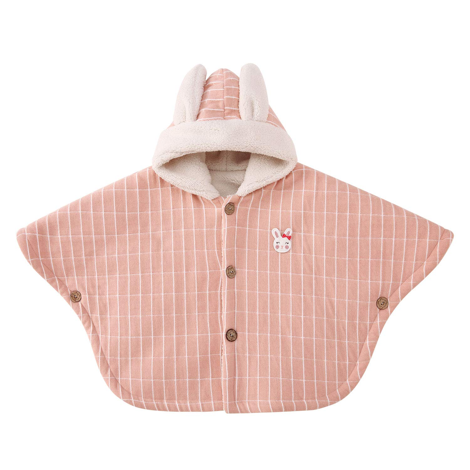 pureborn Baby Girls Hooded Carseat Poncho Cape Cloak Fleece Coat Snowsuit Winter Outfit Pink 1-3 Years by pureborn