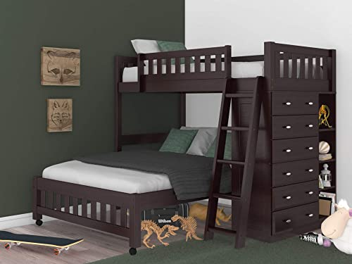 Discovery World Furniture Espresso Twin Over Full Loft Bed