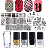 Born Pretty Nail Art Stamping Plates Set Valentine's Day Dream Datcher Manicure Print Tool with 1Pc Jelly Stamper and Scrape