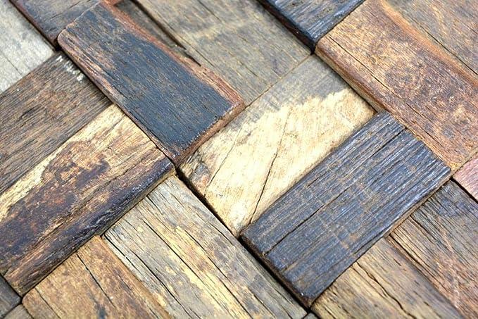 Holz Mosaik Verbund boot Old Wood Holz FSC Wand K/üche Bad Fliesenspiegel|WB160-21|1Matte