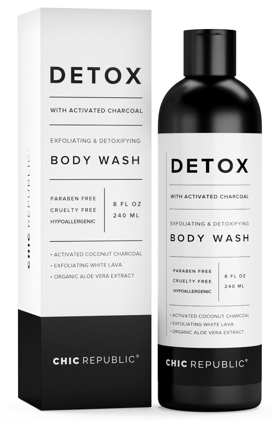 Natural Body Wash with Activated Coconut Charcoal, Exfoliating Wash White Lava, Aloe Vera Plant Extract, as Detox & Hypoallergenic Shower Gel, for Skin Rejuvenation, Sensitive Skin, Women Men