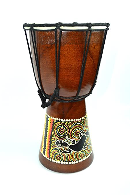 DJEMBE DRUM BONGO HAND CARVED AFRICAN ABORIGINAL DOT ART DESIGN by  Bethlehem Gifts TM (6 inches)