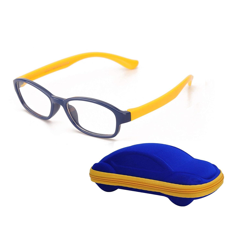 JoXiGo Montatura Occhiali da Vista per Bambino Ragazzi e Ragazze (5-12 Anni) Flessibili TR90 Gommati Montatura Lente Trasparente con Custodia