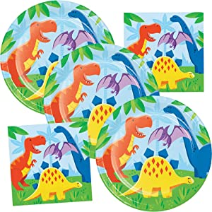 Dinosaur Birthday Party Supplies Plates & Napkins Kids Dino Party Theme Pack Serves 16 Guests