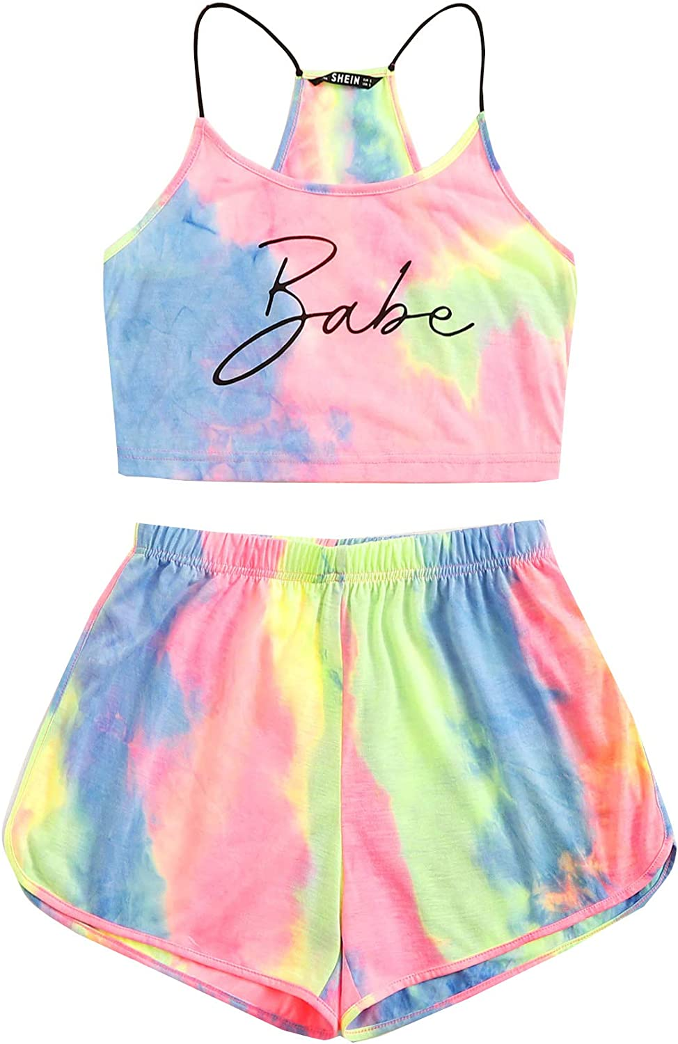 SheIn Womens 2 Pieces Outfit Set Tie Dye Letter Shorts and Crop Cami Top Suits