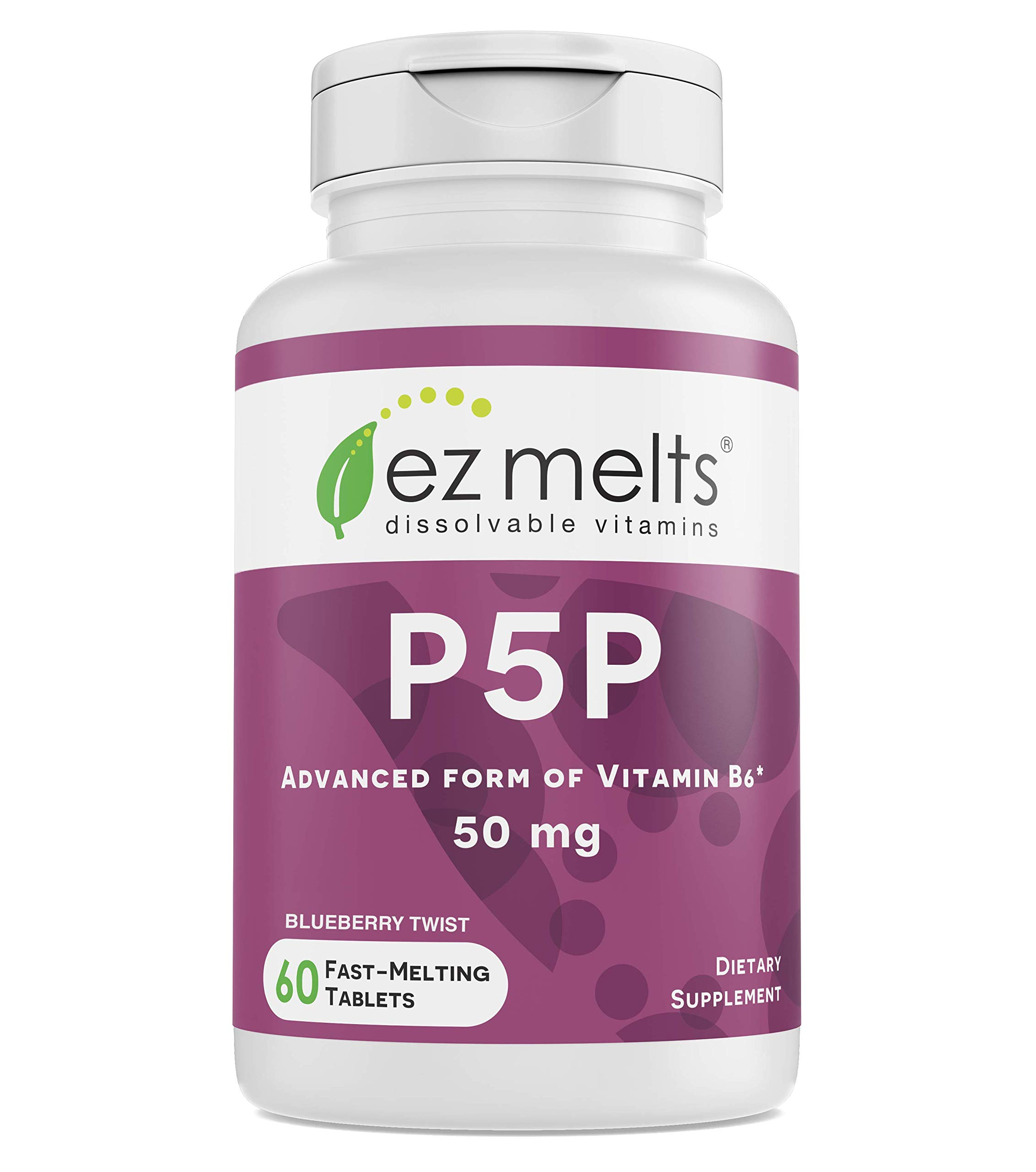 EZ Melts P5P, 50 mg, Sublingual Vitamins, Vegan, Zero Sugar, Natural Blueberry Flavor, 60 Fast Dissolve Tablets