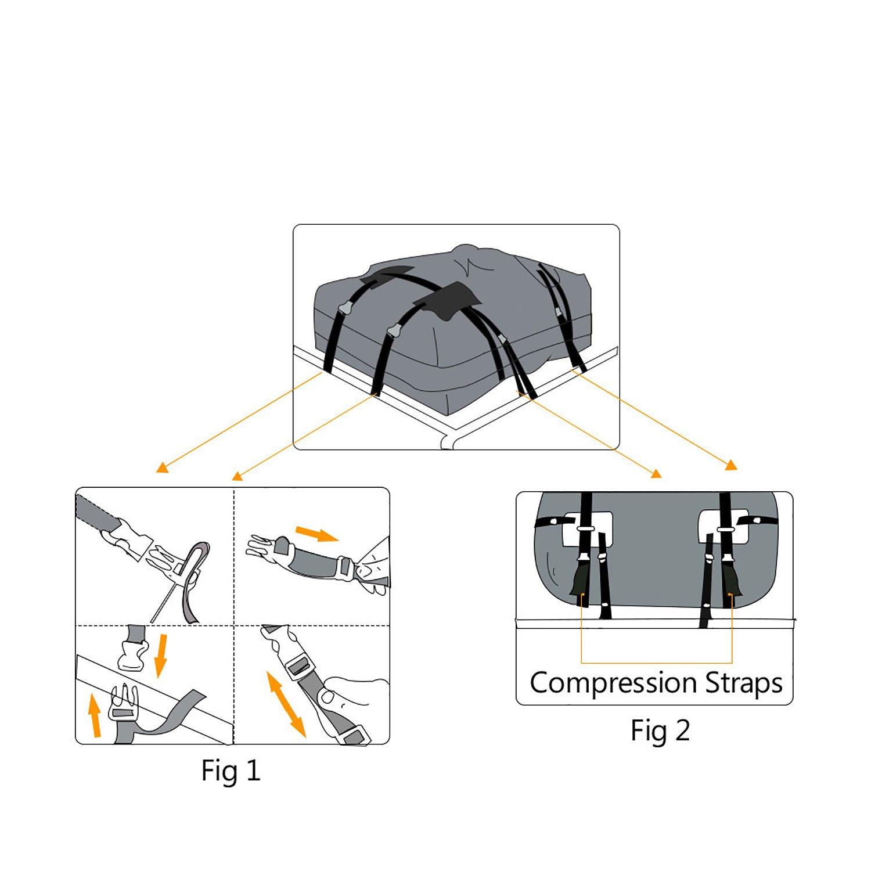 Dozenla Car Roof Top Cargo Bag Vehicles Waterproof Storage Carrier Luggage Travel Organizer [US Stock] by Dozenla (Image #4)