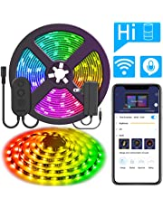 DreamColor 16.4ft LED Strip Lights, MINGER WiFi Wireless Smart Phone Controlled Light Strip 5050 LED Lights Sync to Music, Work with Amazon Alexa, Echo, Android iOS (Not Support 5G WiFi, US Plug)