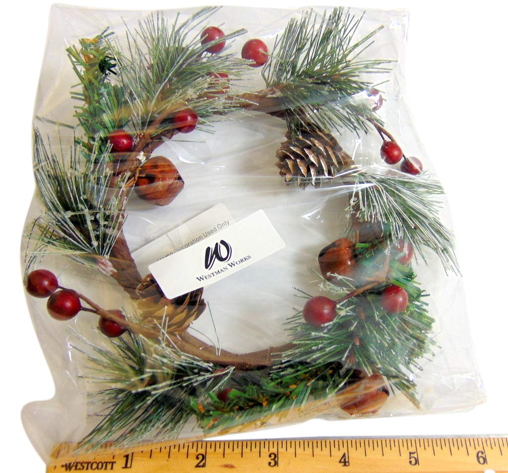 Westman Works Christmas Candle Ring Artificial Spruce Needles and Branches Table Wreath with Rustic Bells 4 Inch