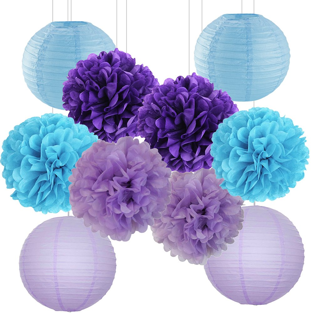 Mermaid Under the Sea Theme Party Decoration Kit Purple Blue 10 Tissue Paper Pom Pom Flowers Paper Lanterns Baby Shower First Birthday Wedding Frozen Theme Party Decorations Wcaro