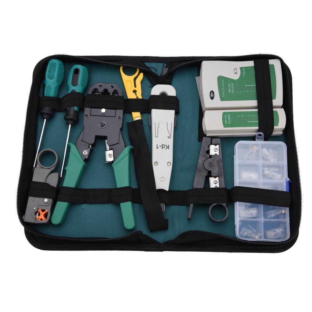Richer-R Testeur de Network Réseau Câble RJ11 RJ45 Kits d'Outils de Réparation d'Ordinateur Net, 11 Pièce Réseau Ensemble d'Outils Approprié au Bricolage, au Ménage ou à l'Usine