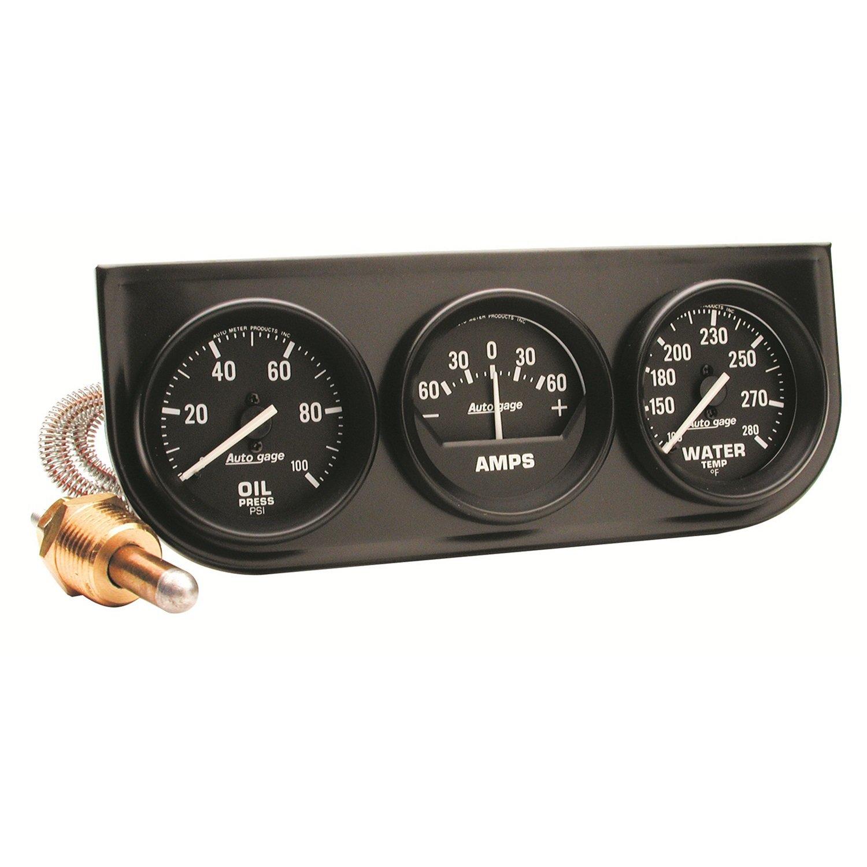 Auto Meter 2393 Black 2-1/16' Mechanical Three-Gauge Console